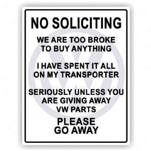 VW No Soliciting Sticker